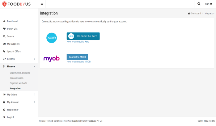 Connect your Xero or MYOB account to FoodByUs for simple invoice management